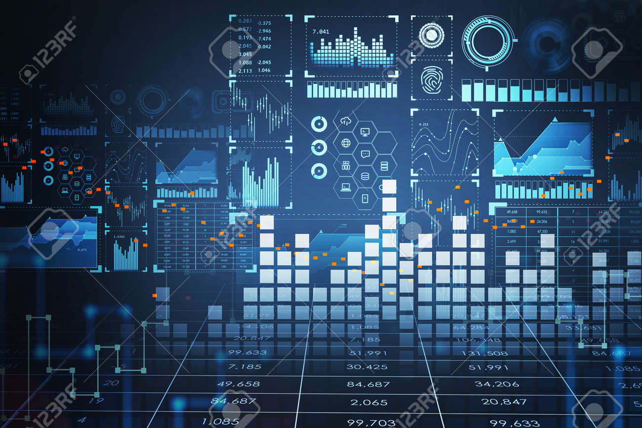 Blue hologram of digital interface with bar chart, fingerprint and stock market graph changes. Graph dynamics with candlesticks. Concept of online trading. 3D rendering - 167854037