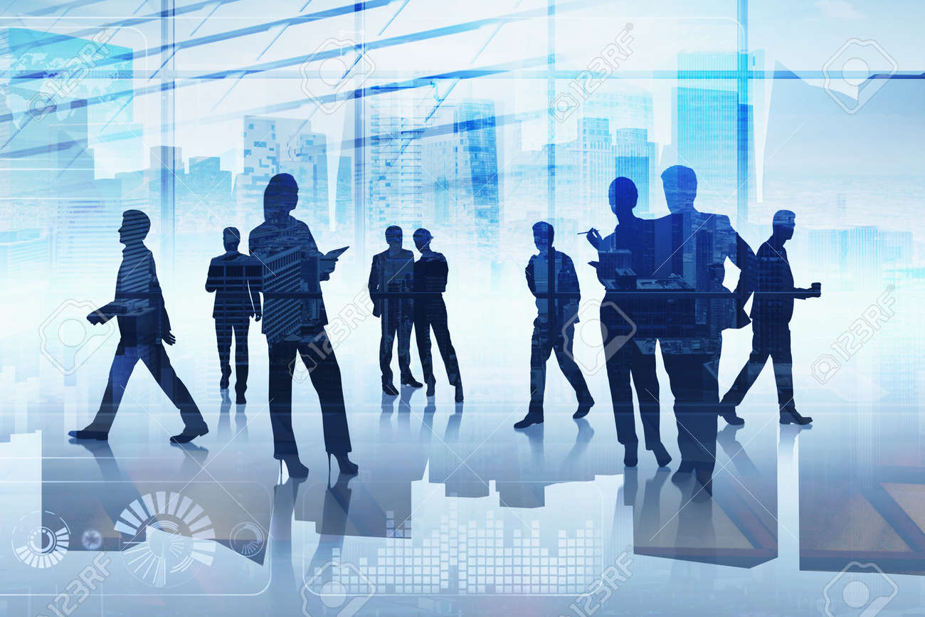 Group of business people working together over digital interface. Concept of teamwork, cooperation and network in international hi tech business. Office with New York panoramic cityscape - 169252563
