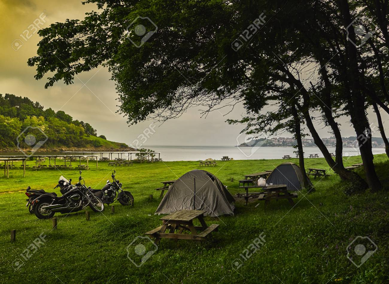 Motorcycle tent c& - Kerpe Kocaeli Turkey Stock Photo - 82116463 & Motorcycle Tent Camp - Kerpe Kocaeli Turkey Stock Photo Picture ...