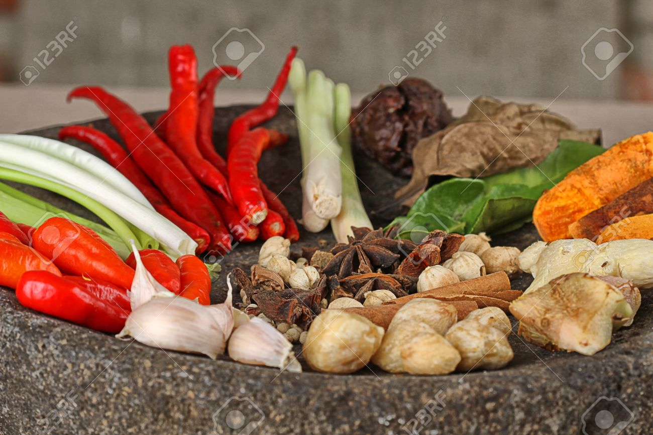 Indonesian spices on mortar