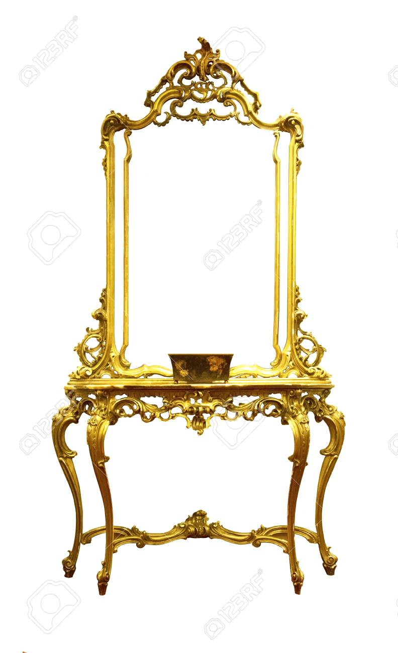 Gold Vintage Antique Dressing Table With Frame Mirror Isolated ...