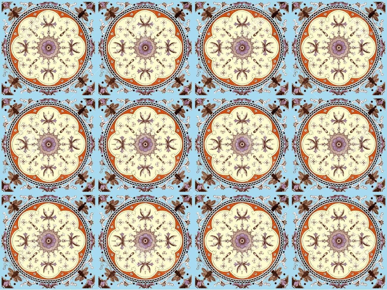 Moroccan Tile Pattern Background.Colorful Vintage Ceramic Tiles ...