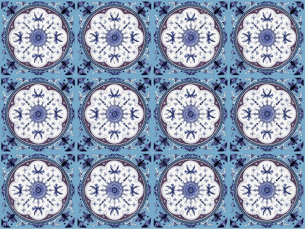 Moroccan Tile Pattern Background.Colorful Vintage Ceramic Tiles ...