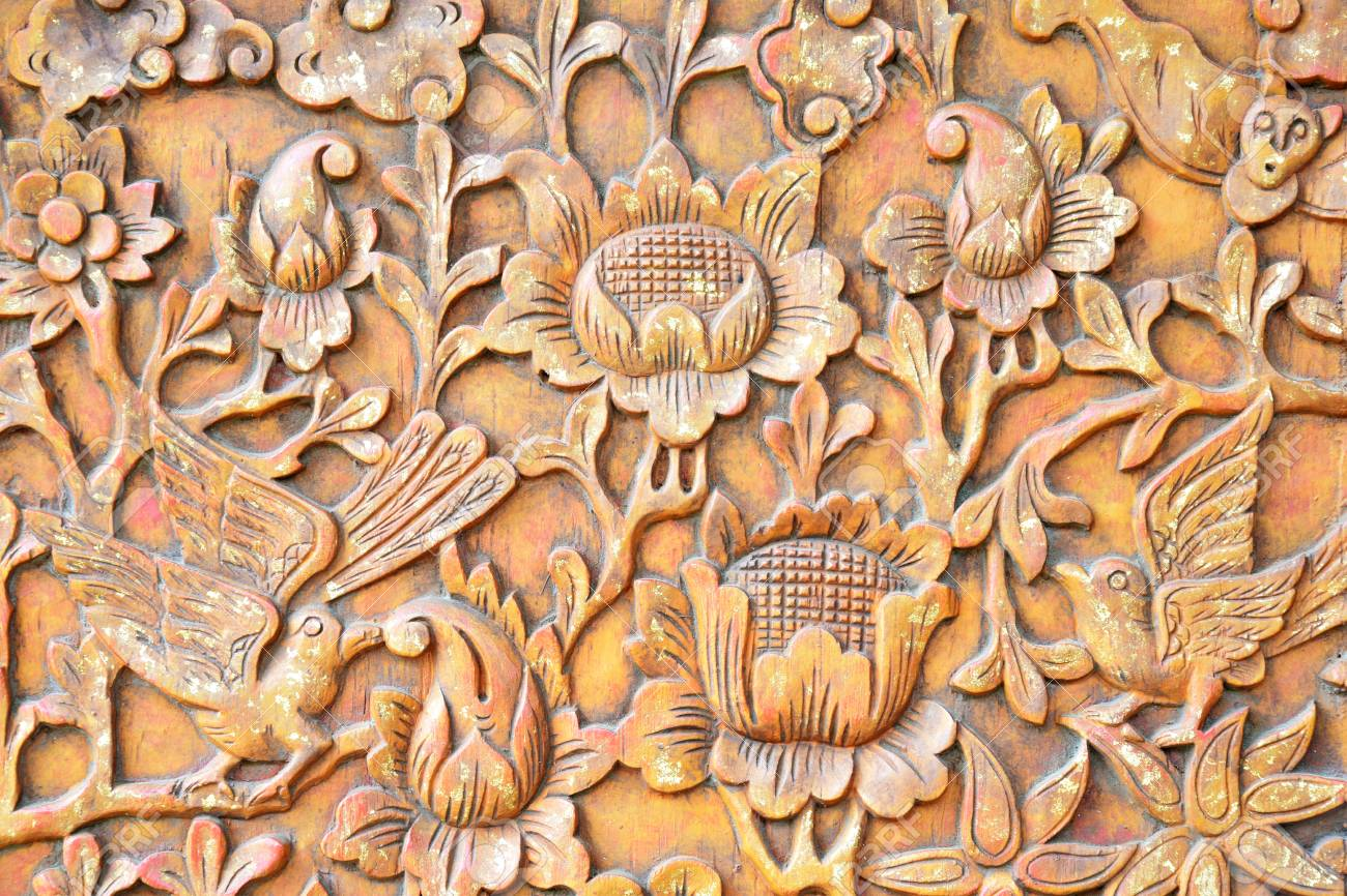 photo the art and pattern of carving on wood wooden floral textured