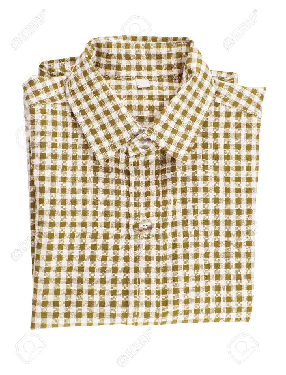 53e2392a78b Brown checkered shirt folded isolated on white background
