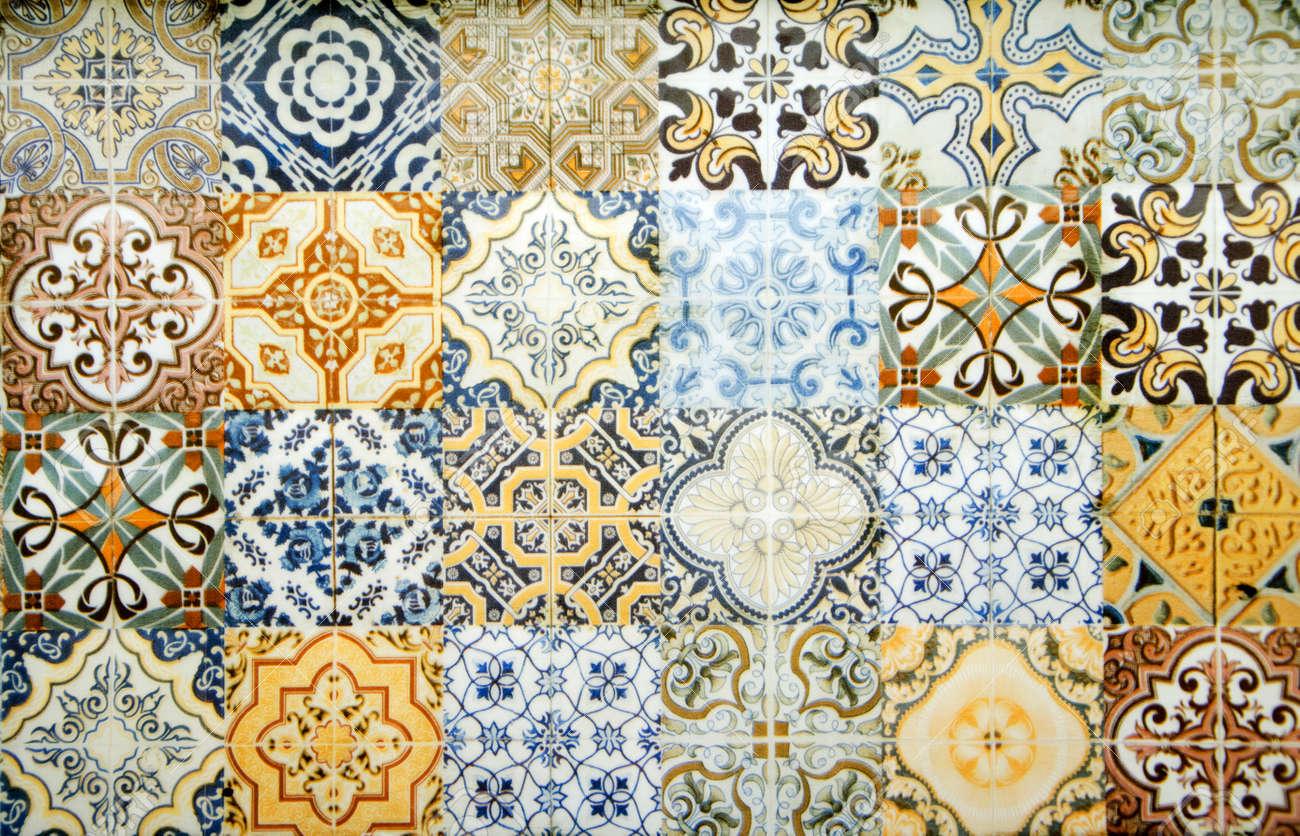 Vintage ceramic tiles wall decoration.Turkish ceramic tiles wall background - 156727233