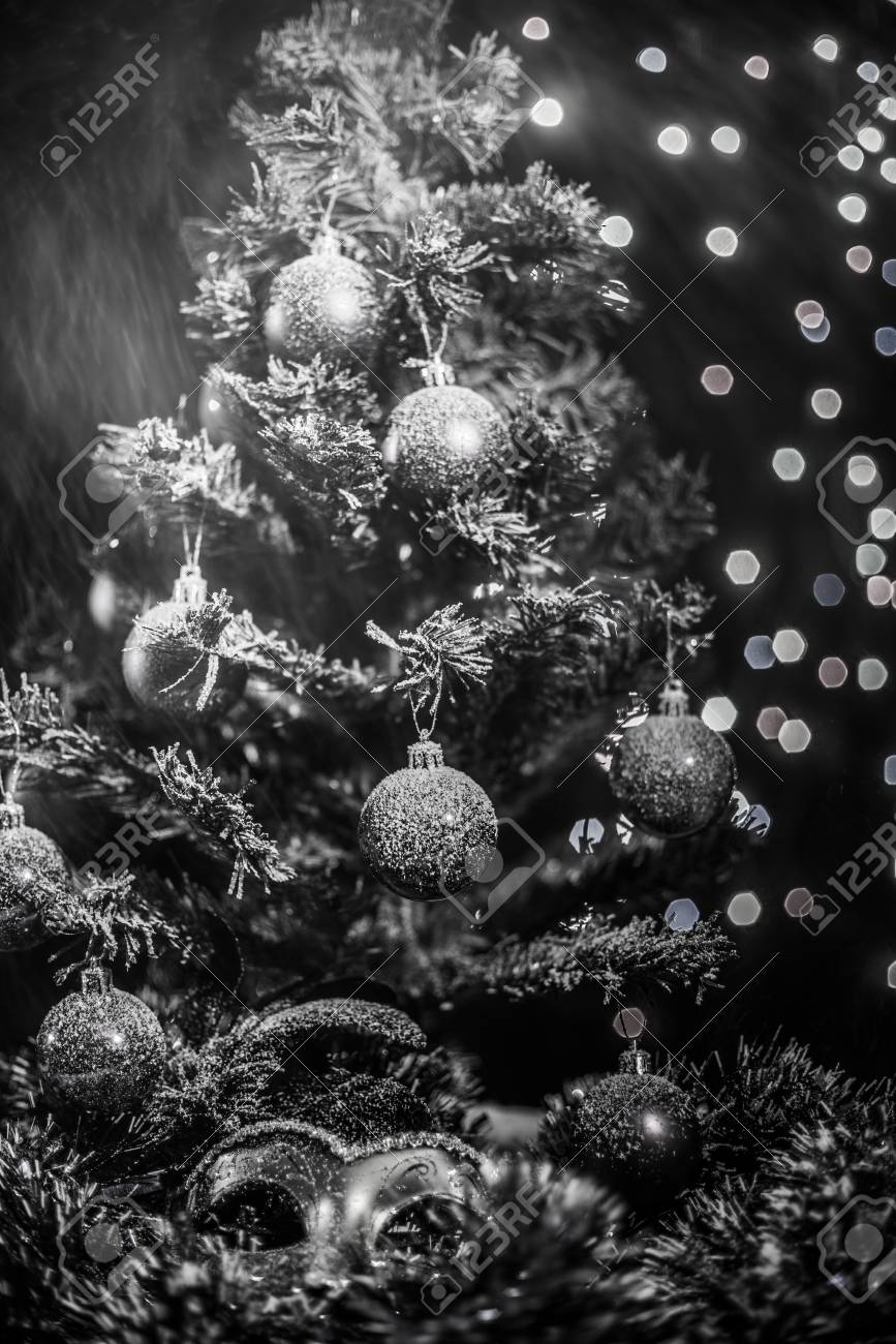 New Year Theme Christmas Tree White And Silver Decorations Stock Photo Picture And Royalty Free Image Image 48862794