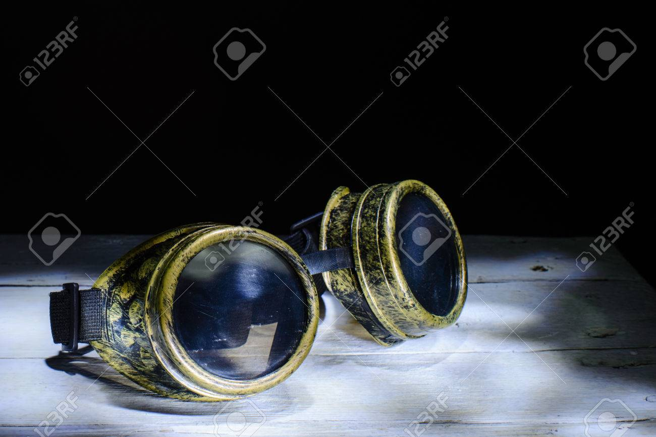 240f656c745 Steampunk glasses metal collage. light brush Stock Photo - 51875728