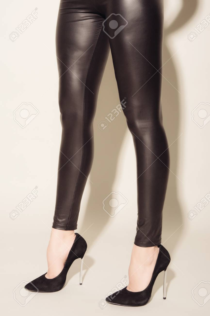 Women S Legs In Black Tight Fitting Leather Trousers And High Heeled