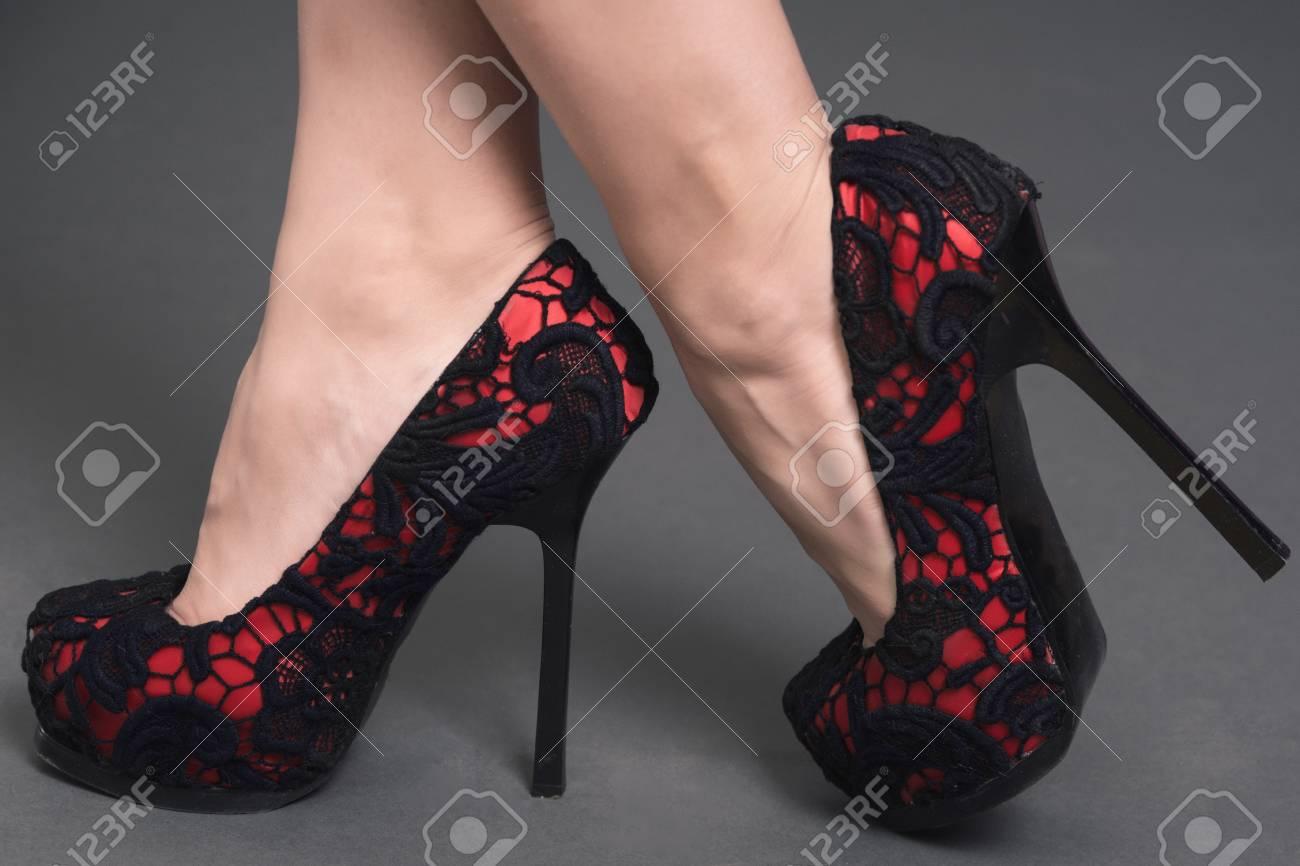 Black Heels Isolated.. Stock Photo