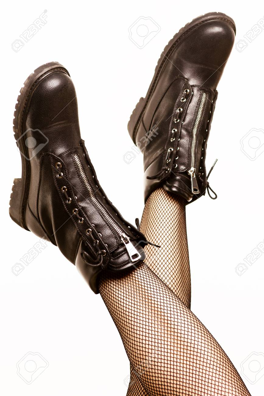 Black Army Boots Isolated