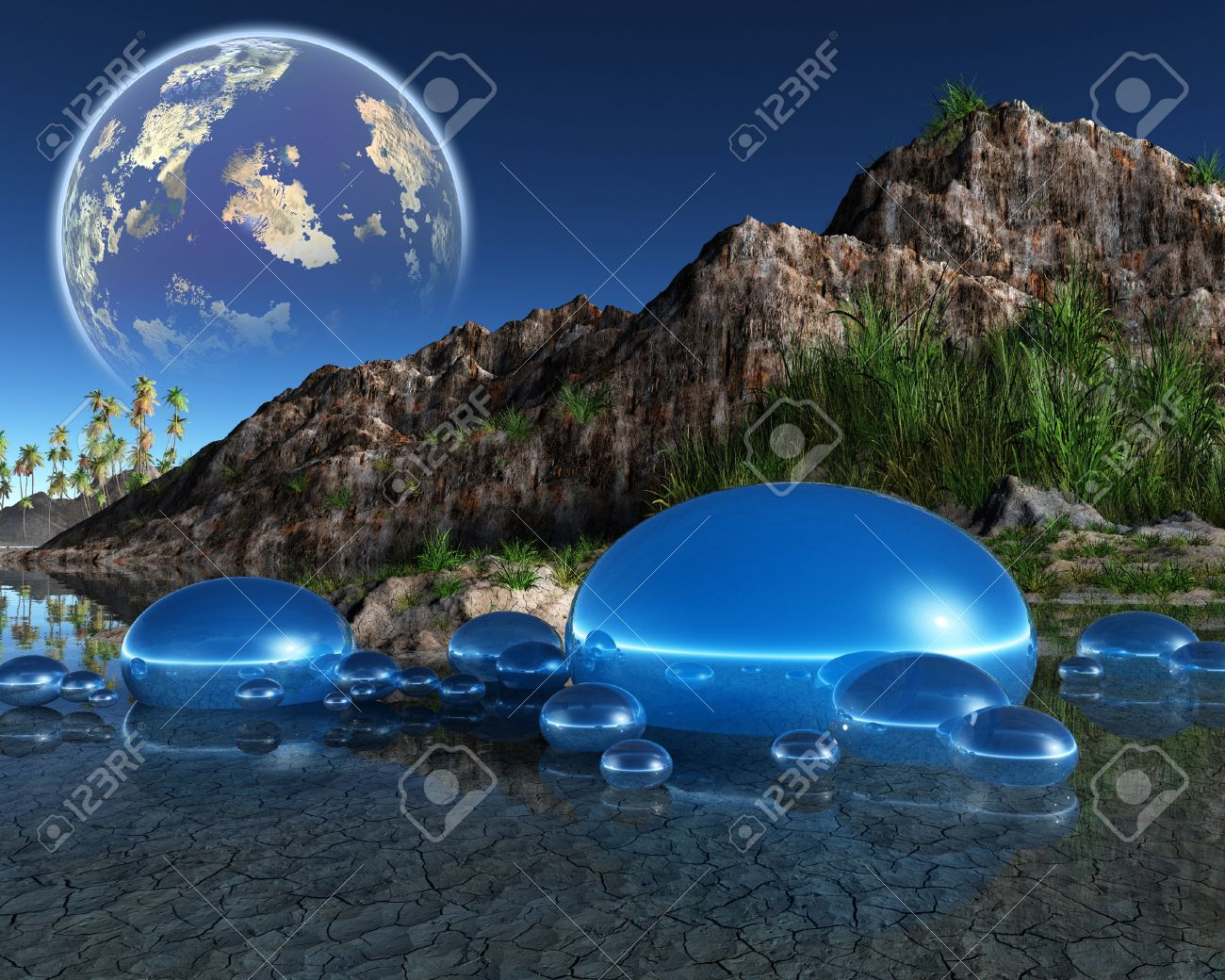 3d fantasy landscape stock photo, picture and royalty free image