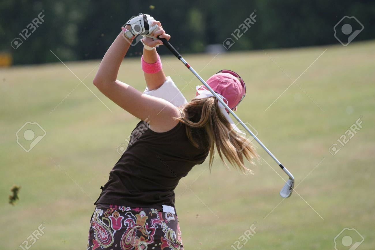 Golf Lady Swing At Finish 1 Stock Photo Picture And Royalty Free