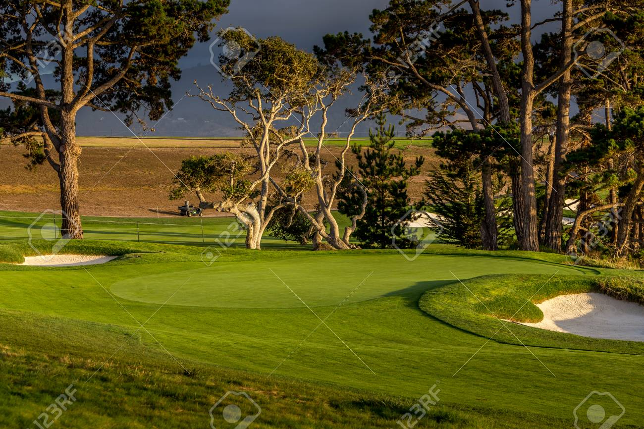 Coastline golf course, greens and bunkers in California, usa