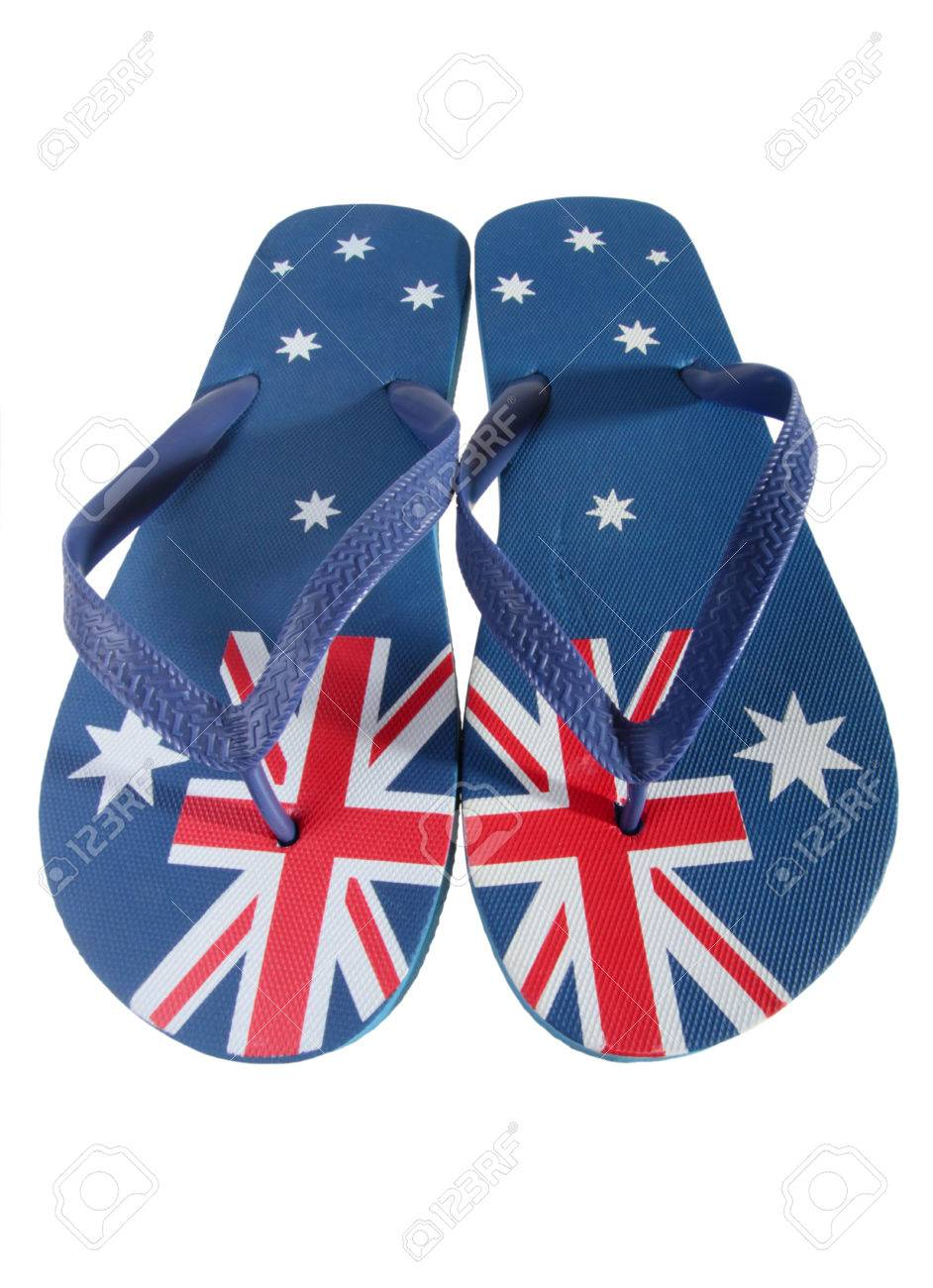 cfcc0814bb31 Pair of thongs with Australian flag isolated on white background Stock  Photo - 40099543