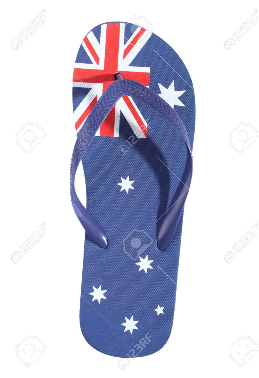 9a44878ff2a Thong With Australian Flag Isolated On White Background. Stock Photo ...