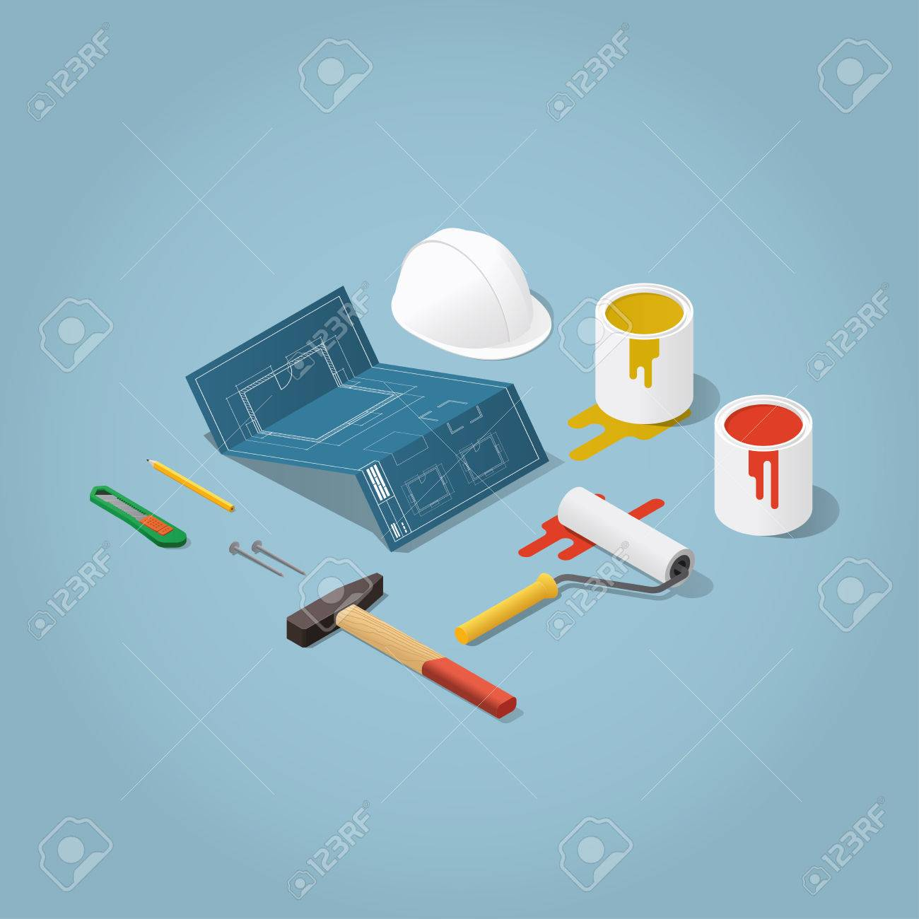 Isometric vector apartment room renovation illustration toolbox isometric vector apartment room renovation illustration toolbox set blueprint plan of room buckets malvernweather Image collections