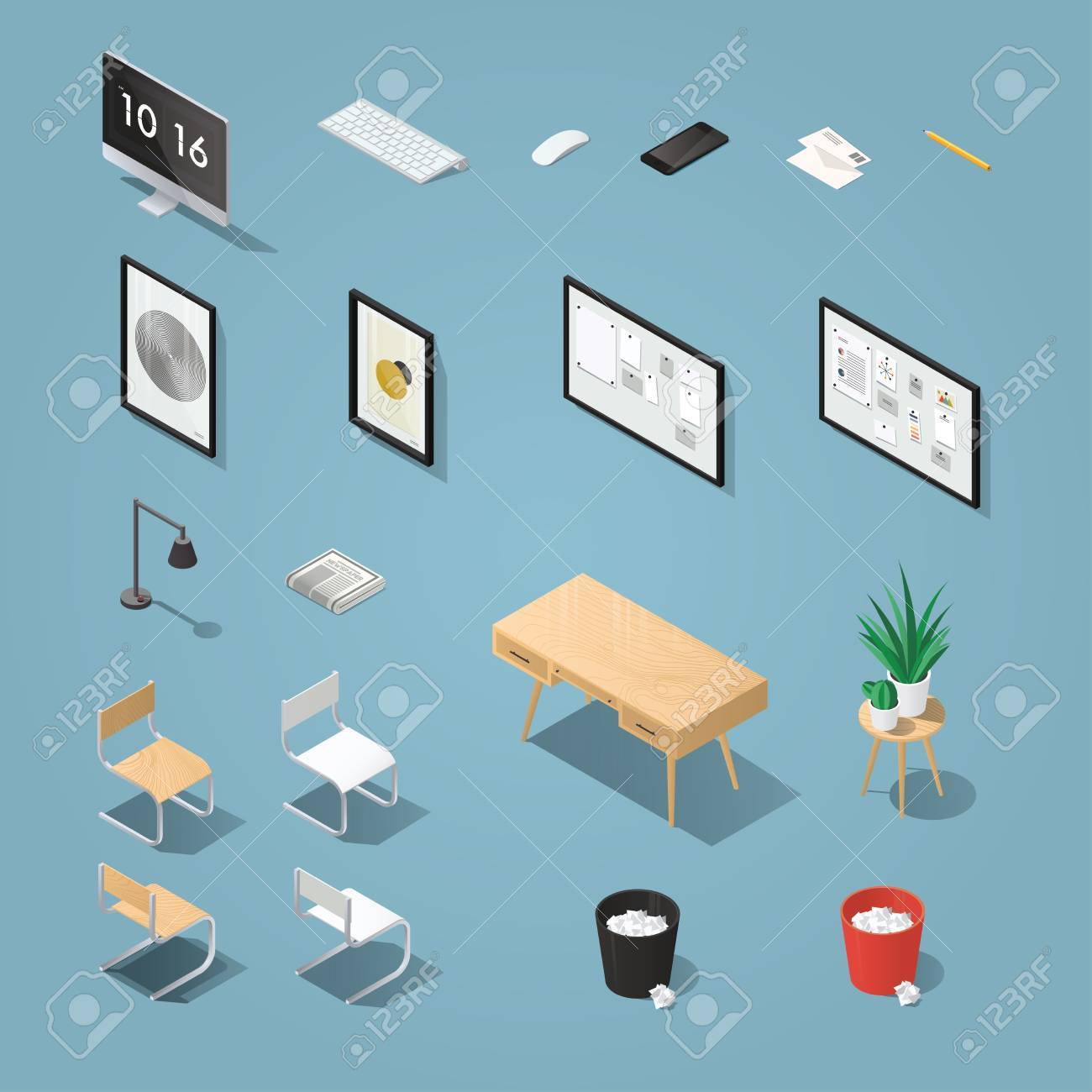 isometric office furniture vector collection. Isometric Office Furniture And Computer Set. Detailed Objects. Collection Includes Mid Century Table, Vector O