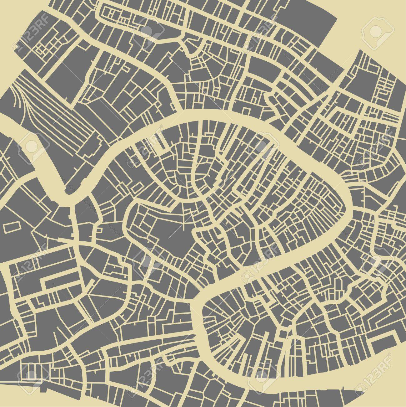 Venice vector map. Monochrome vintage design base for travel card, advertising, gift or poster. - 69110454