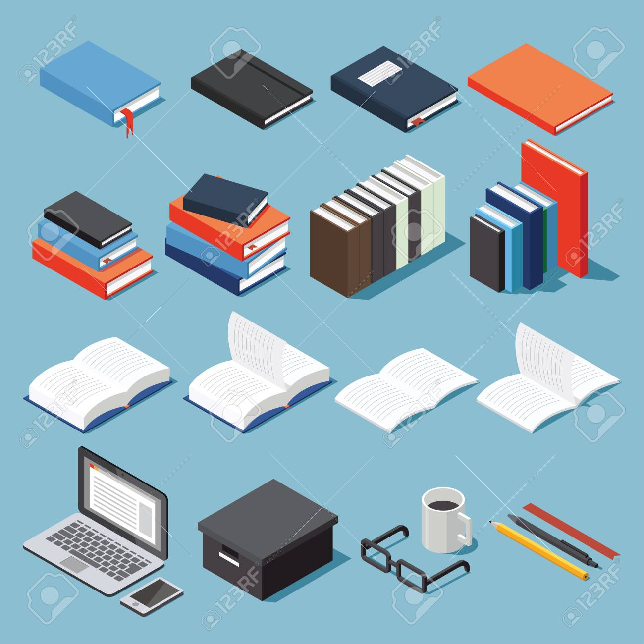 Isometric Library And Educational Equipment Vector Set Paper Electronic Circuits Textbook Different Types Of Books Stack