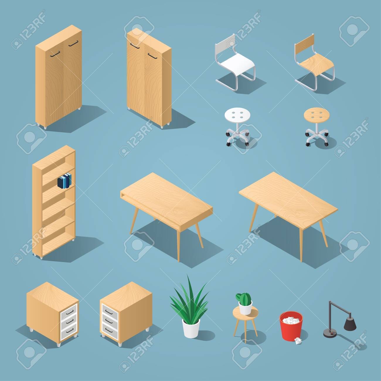 isometric light brown office furniture set collection includes tables shelves bureau cabinet isometric vector collection o28 vector