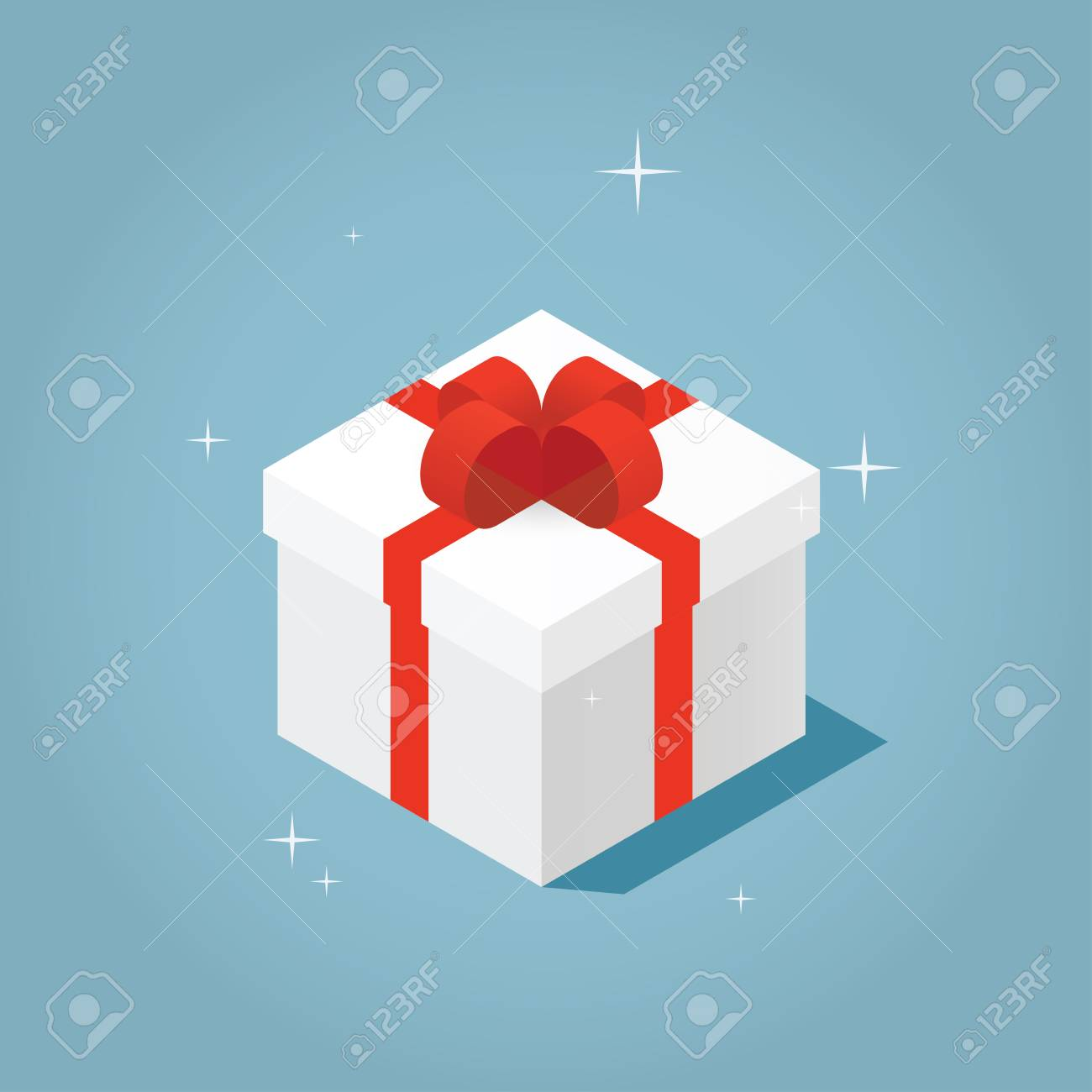 Isometric Vector Present Box Illustration The Christmas Or Birthday