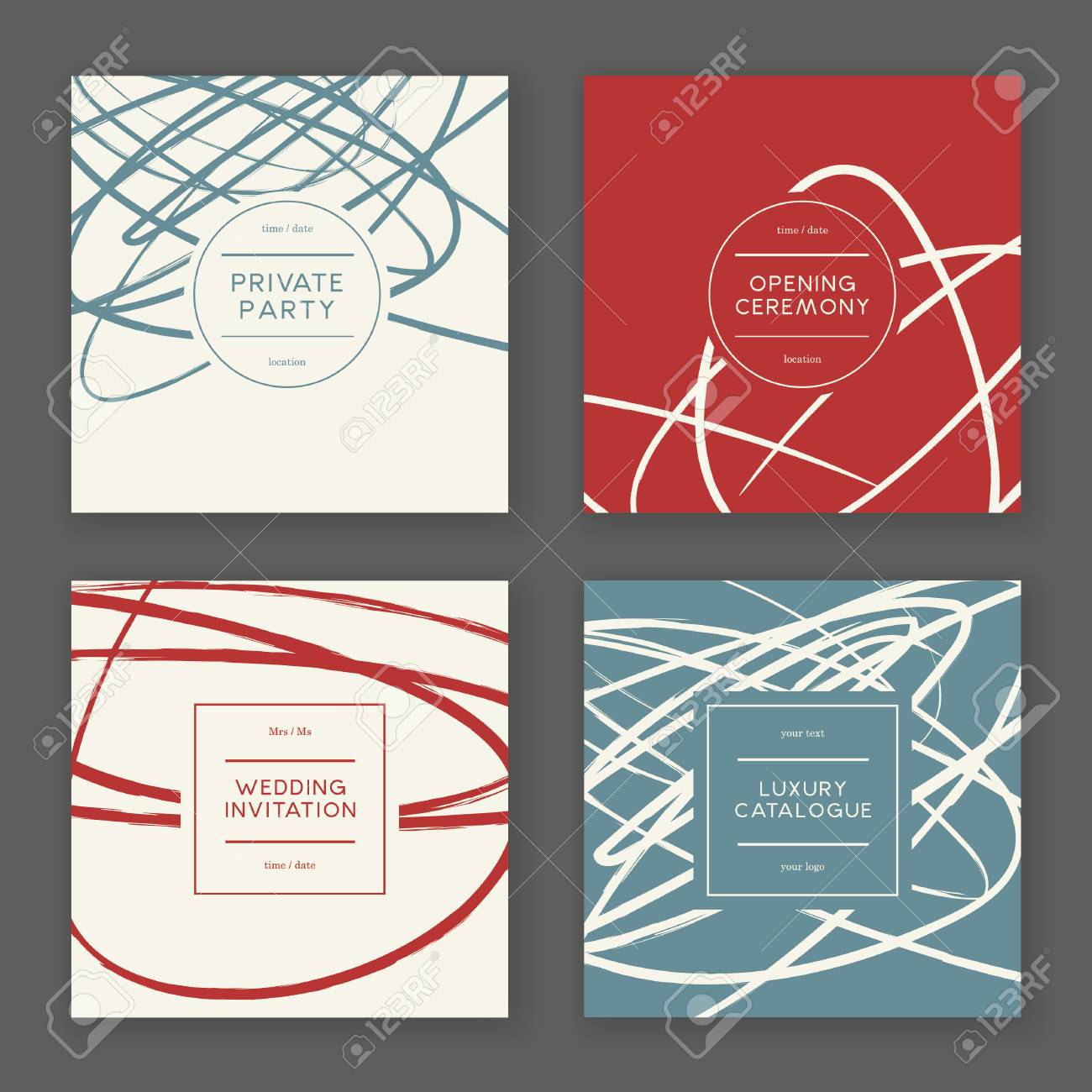 Set Of Creative Freehand Invitation Cards. Hand Drawn Textures ...