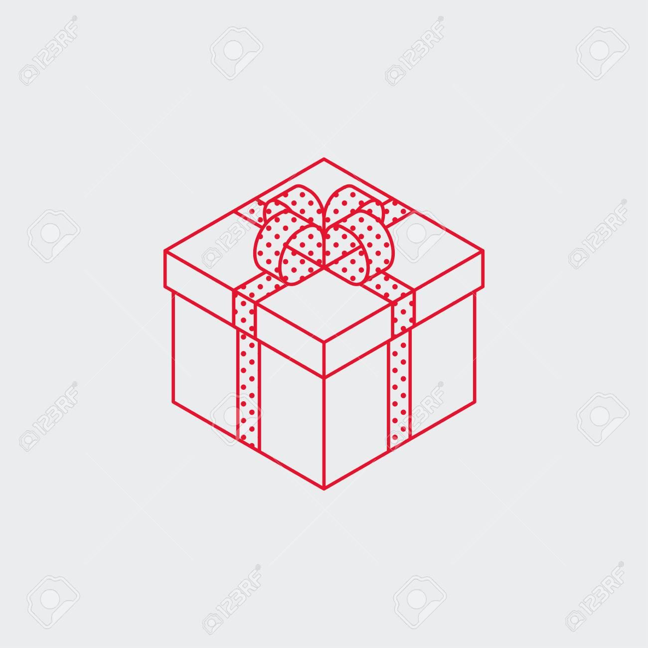 Isometric Vector Present Box Illustration Christmas Or Birthday
