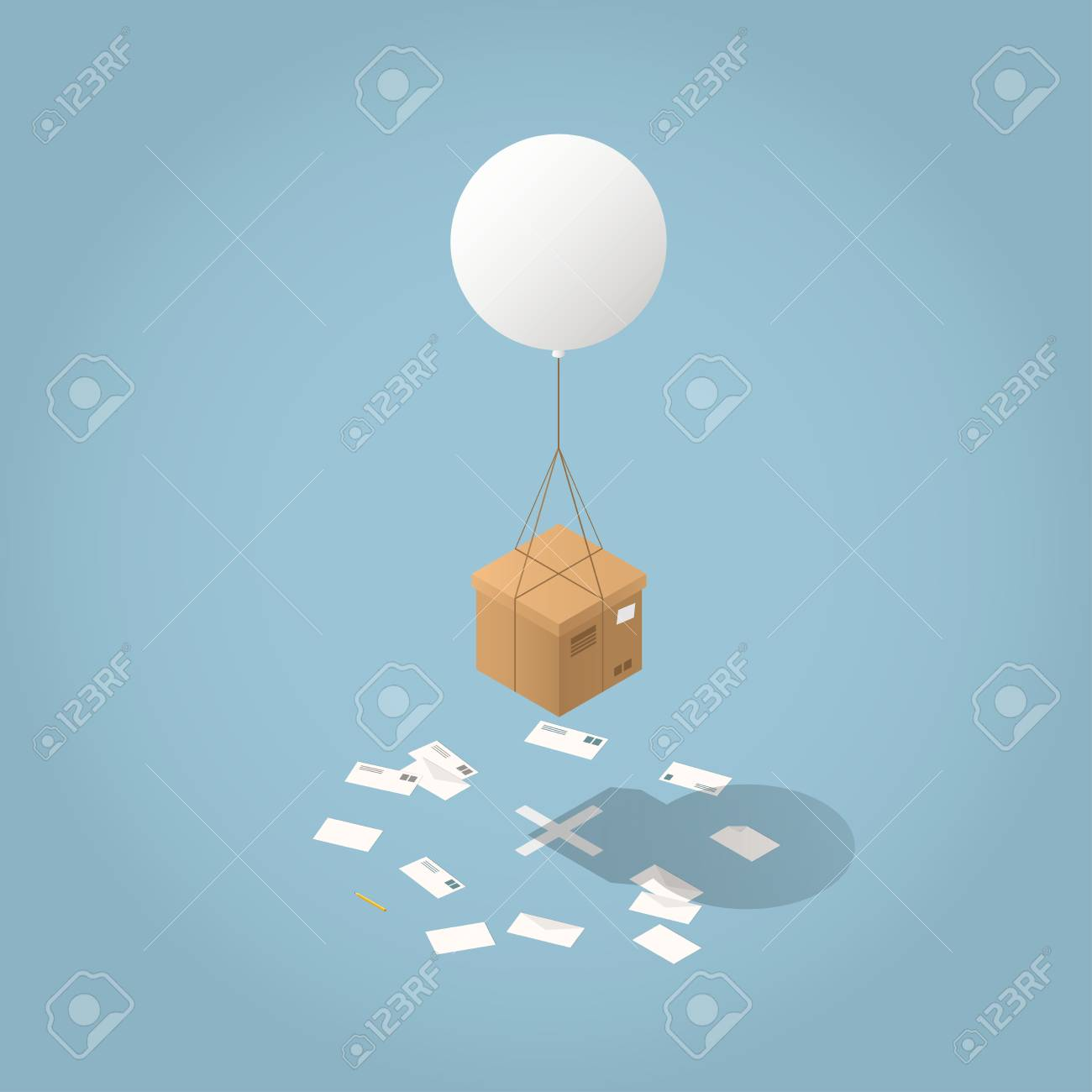 Vector isometric mail delivery concept illustration. Cardboard box are delivered by flying balloon to its destination - cross on the floor with envelopes all around. - 93963717