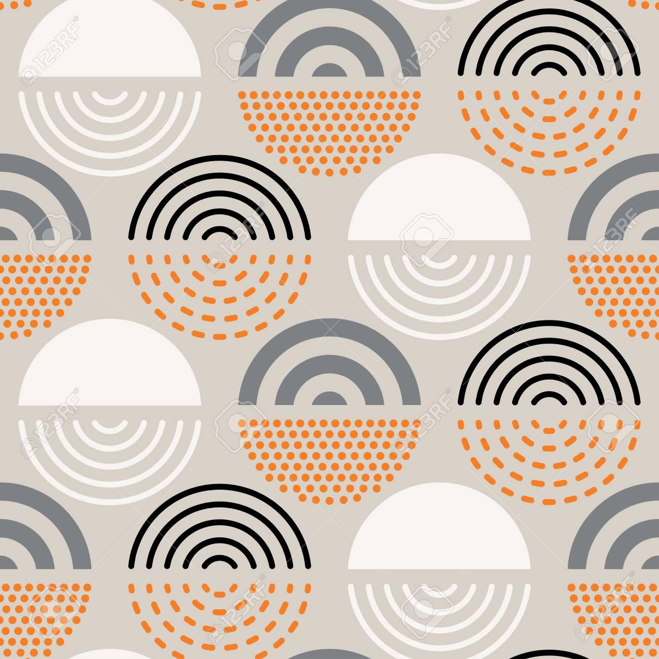 Vector seamless mid century absctract geometric pattern. Polygonal retro design. - 105331327