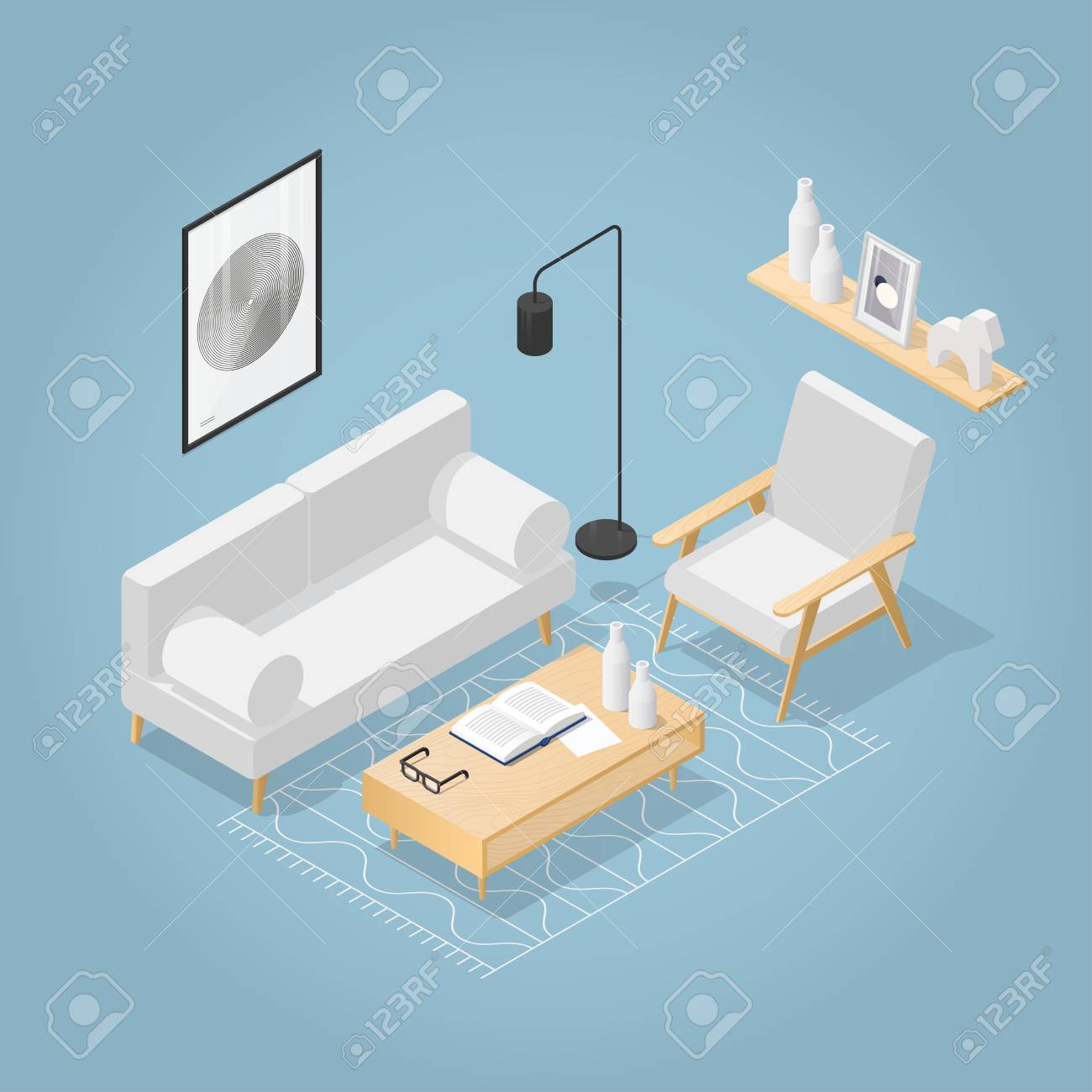 Vector isometric living room in mid century style. Sofa with..