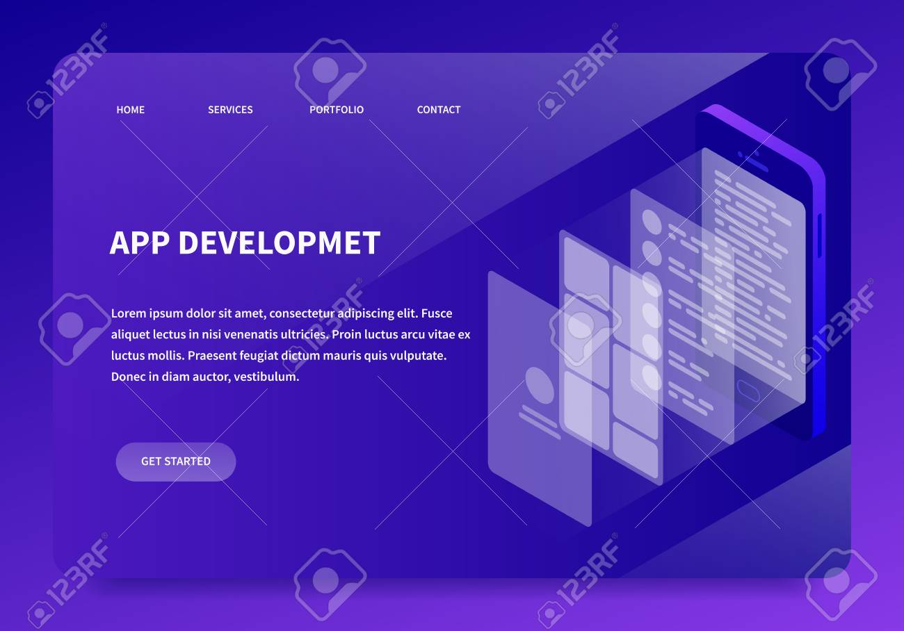 Vector isometric creating ux design illustration Phone app programming