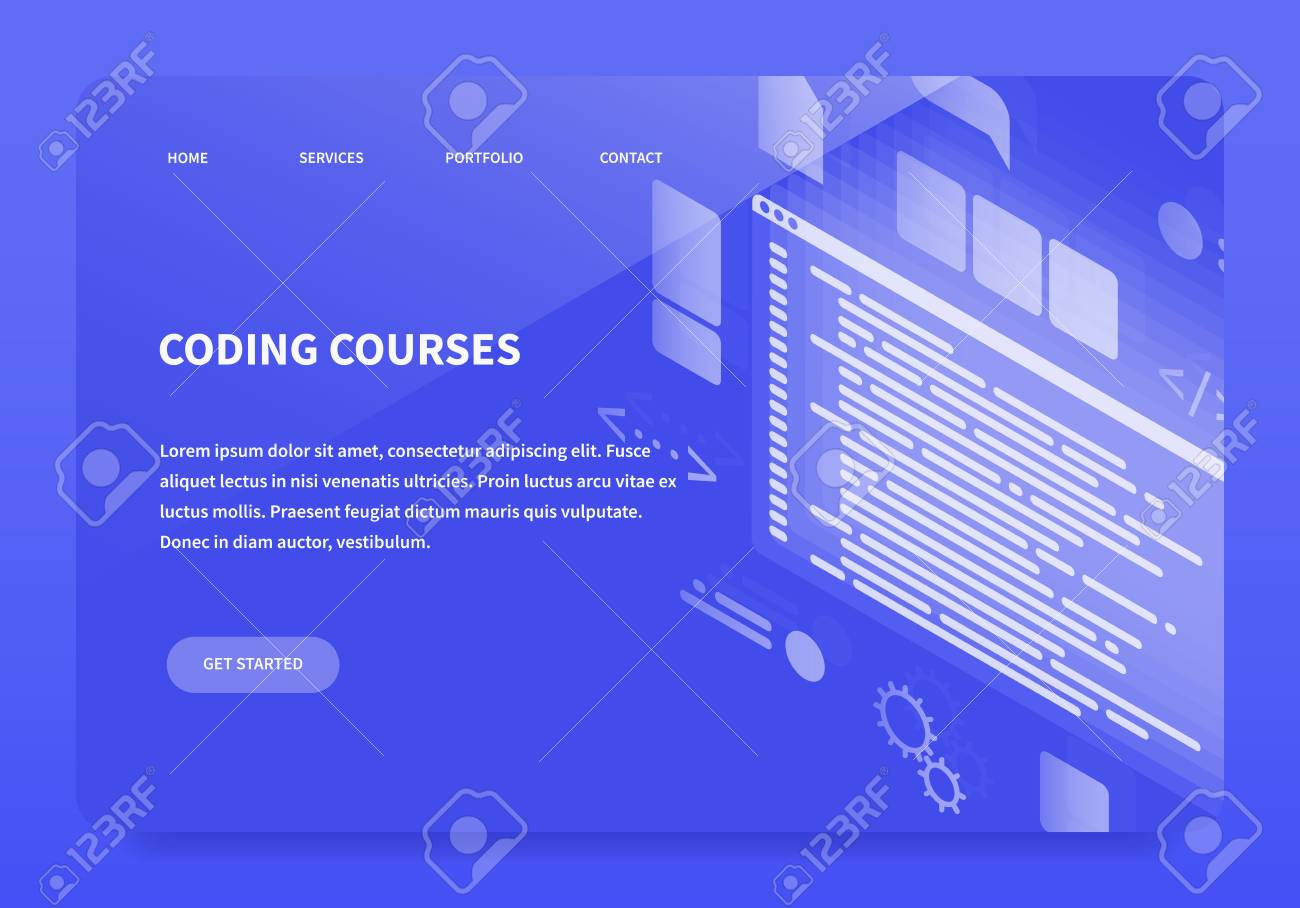 Isometric Concept Landing Page Coding Courses First Main Of Site Vector Illustration With
