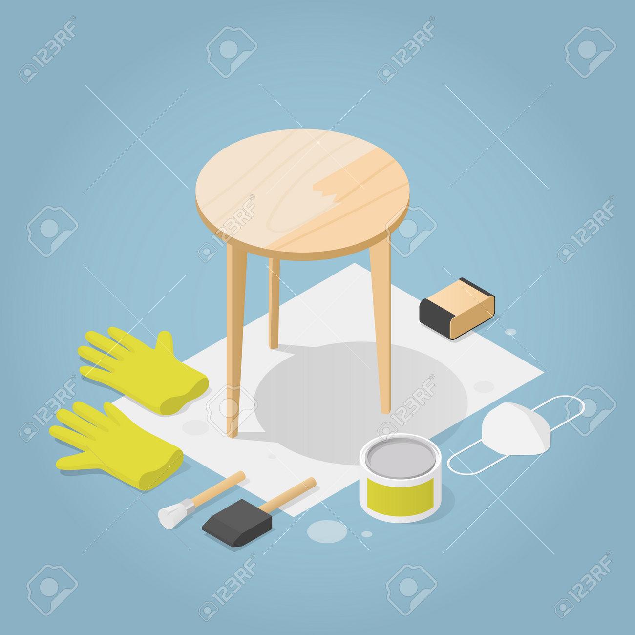 Isometric Furniture Repair Illustration - 162524319