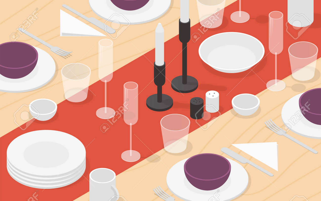 Isometric Table Setting Illustration - 162524392