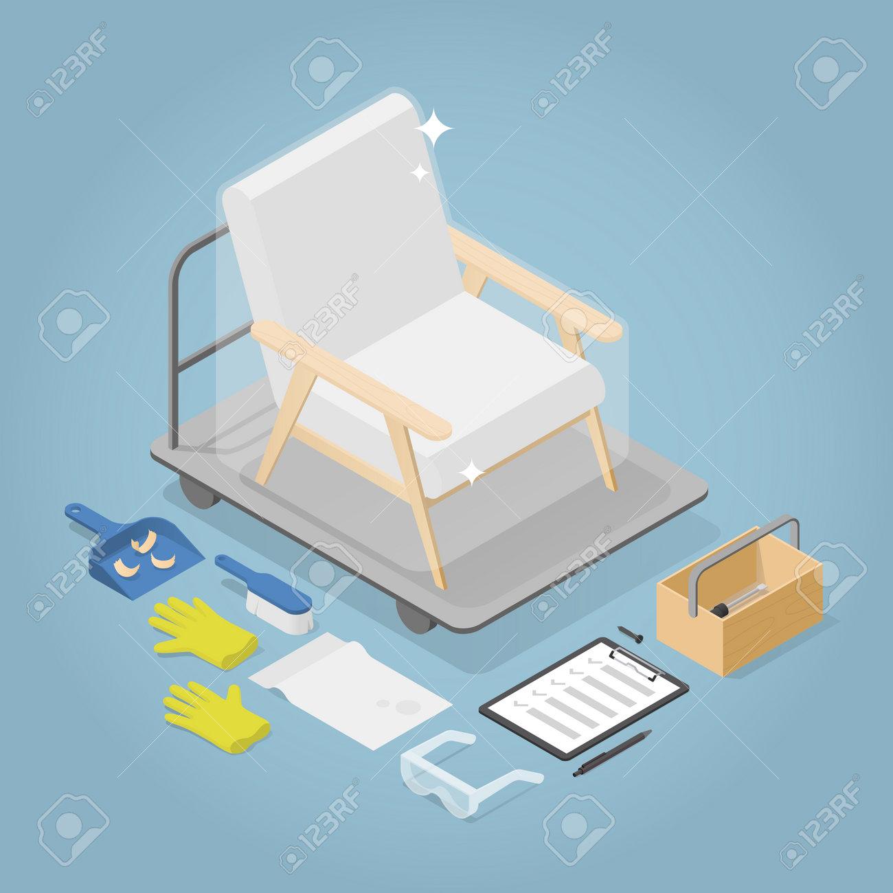 Isometric Armchair Restoration Illustration - 162524393