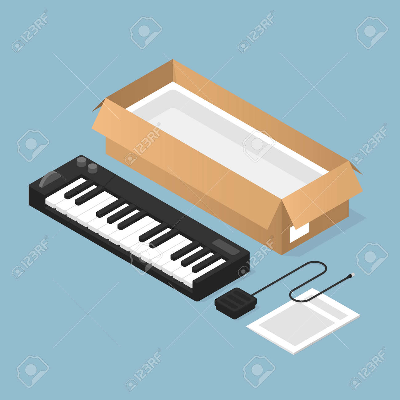 Unboxing New Keyboard Isometric Illustration - 164779848
