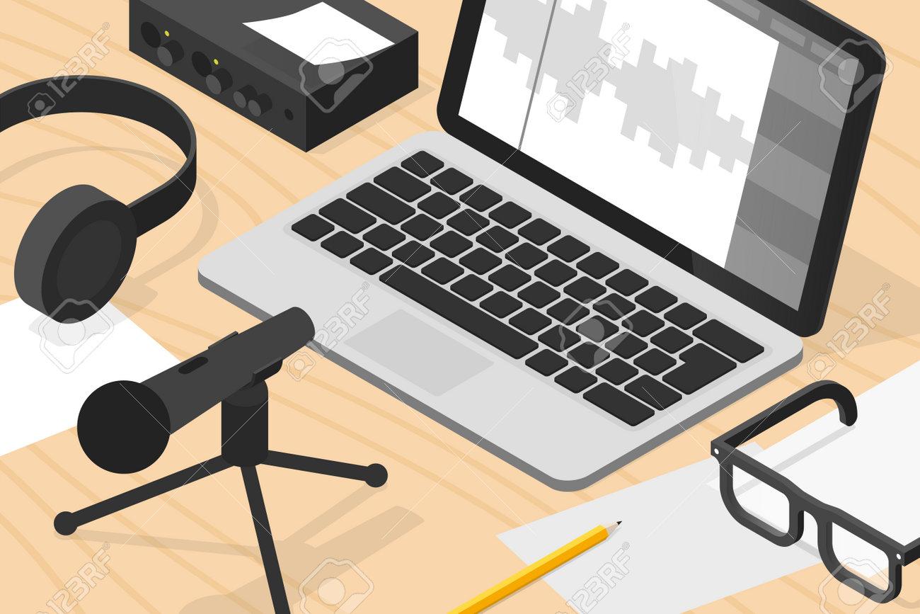 Sound Production Isometric Illustration - 164764593