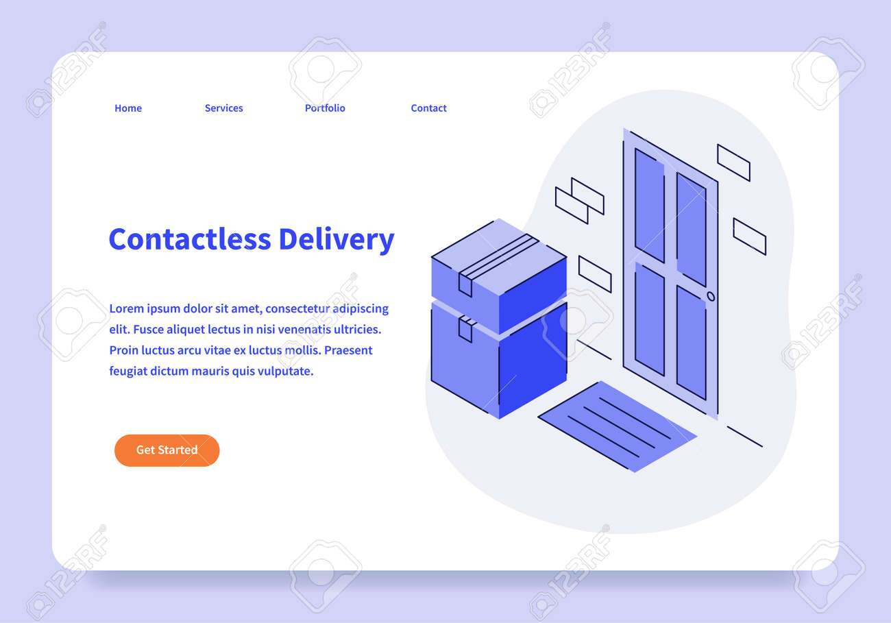Contactless Delivery Landing Page Concept - 171310277