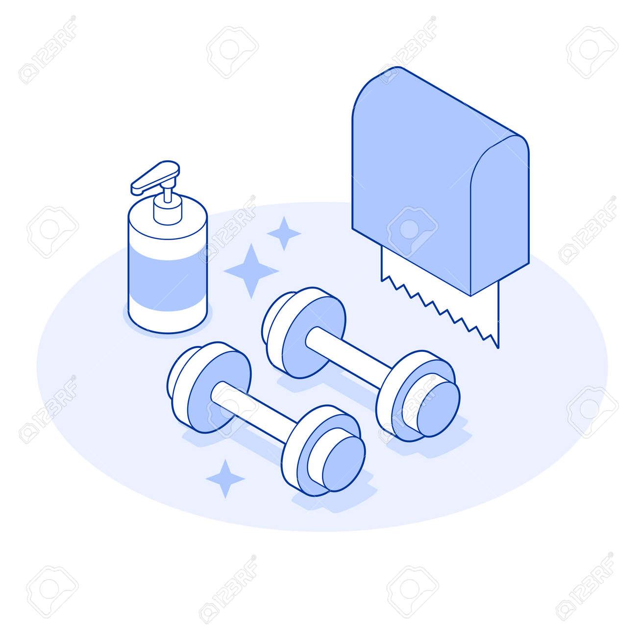Isometric Gym Vector Illustration - 171174745