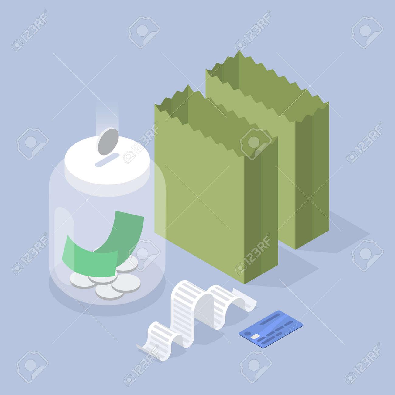 Saving Money Isometric Illustration - 171367106