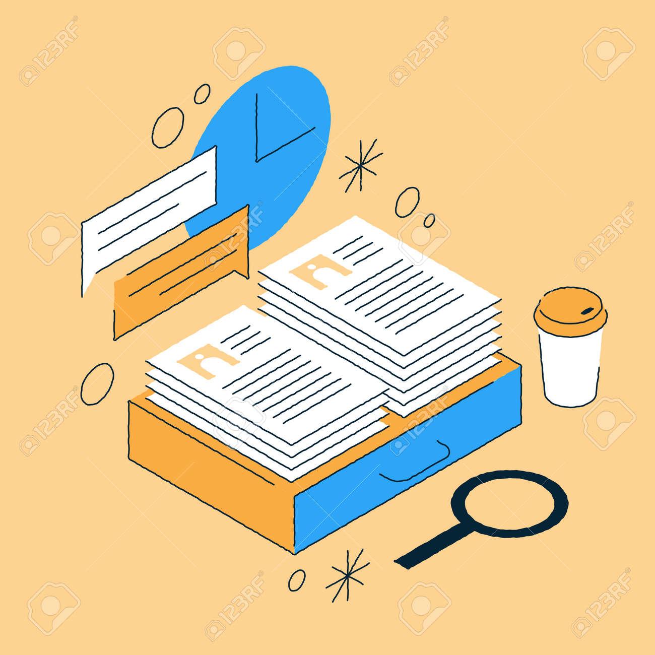 Job Recruiting Isometric Illustration - 171553467