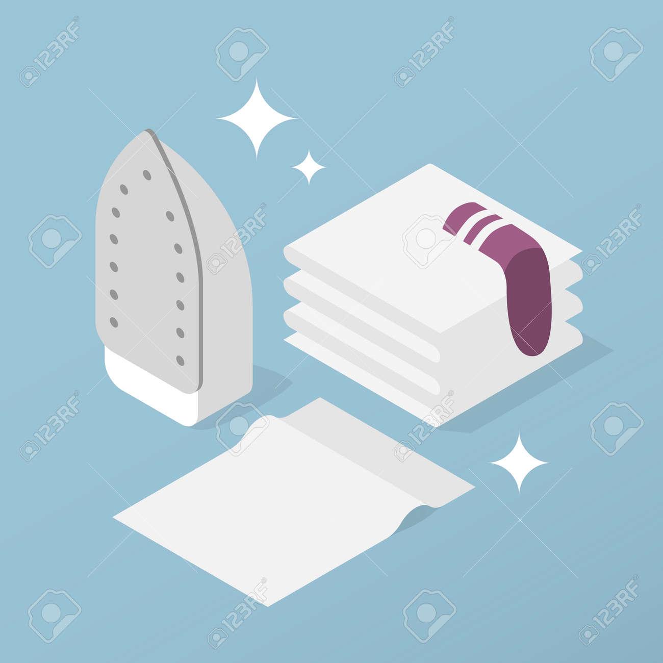 Isometric Home Laundry Illustration - 173458794