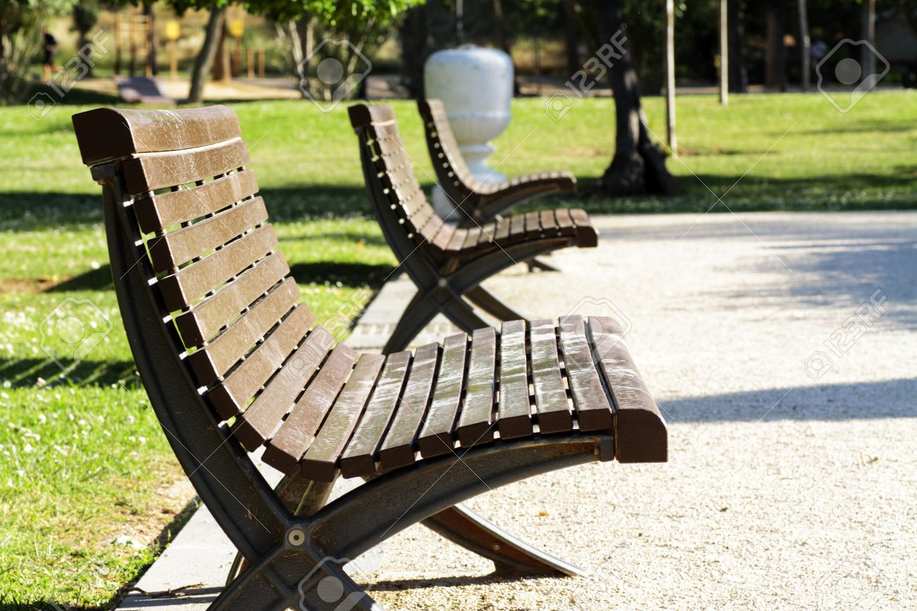 Scene Of Street Furniture In Public Park Expresses Relaxation And Wellbeing  Stock Photo   13779167