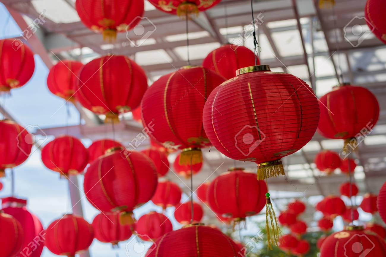 Red Chinese Paper Lanterns Decorate For Chinese New Year