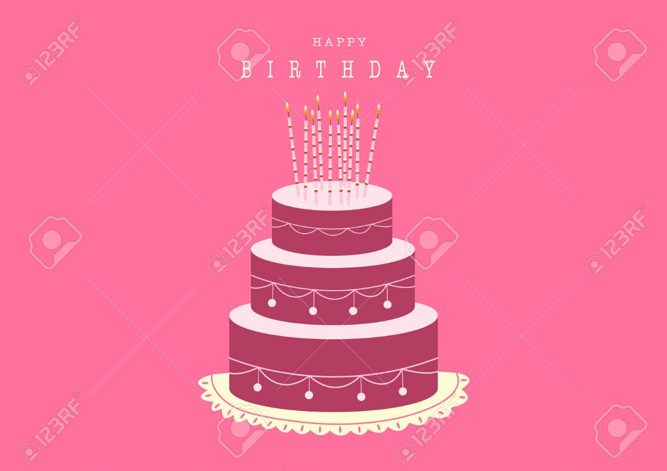 Happy Birthday Card With Birthday Cakevector Illustrations Royalty
