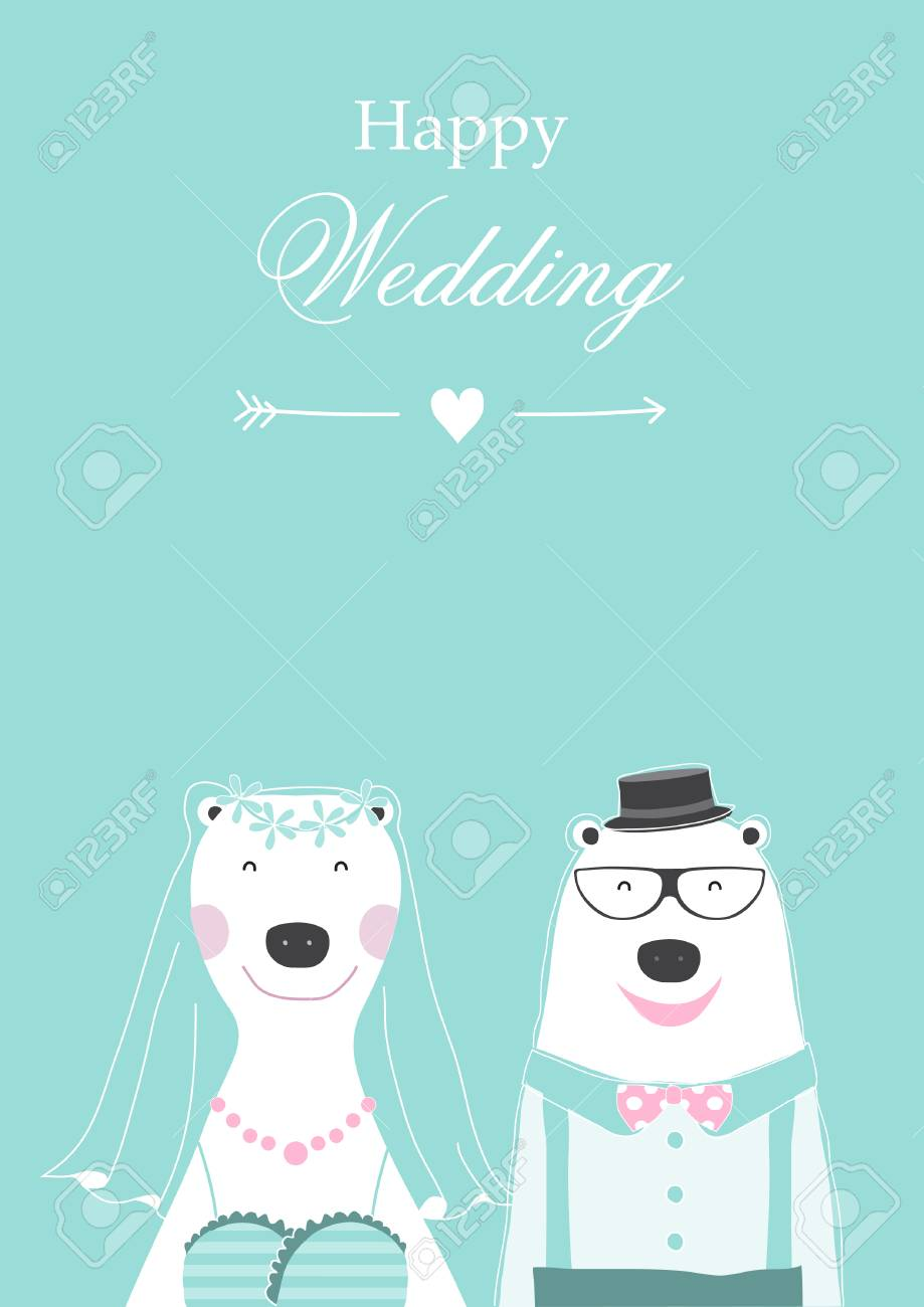 wedding invitation with cute bears cards poster template greeting