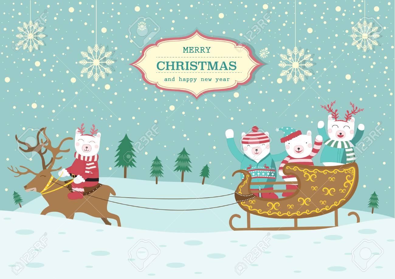 Cute Bear With Christmas Sleigh Christmas Card Vector Illustrations