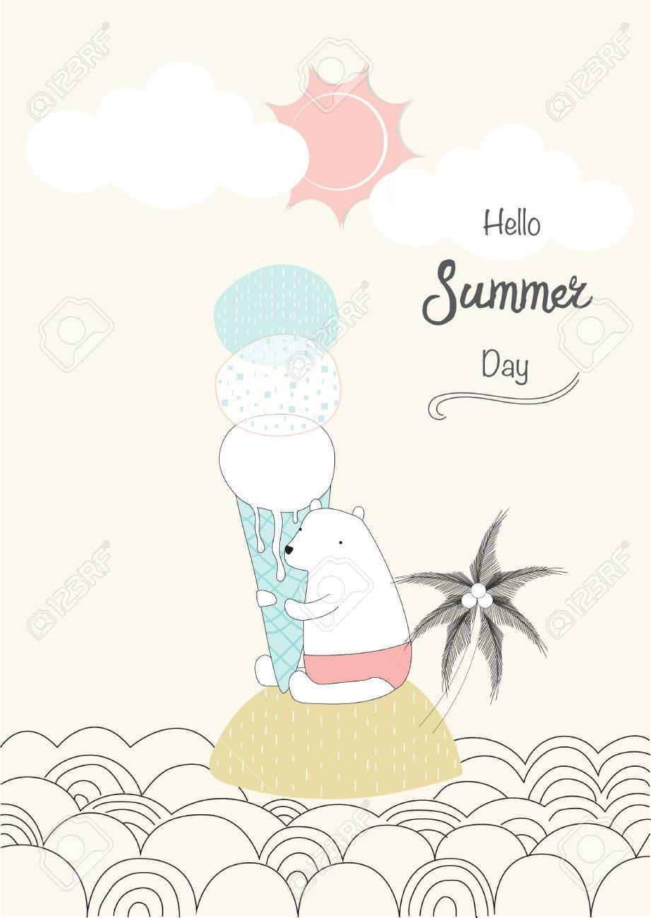 かわいい動物 ベクトルのイラストと夏のポスターのデザインのイラスト