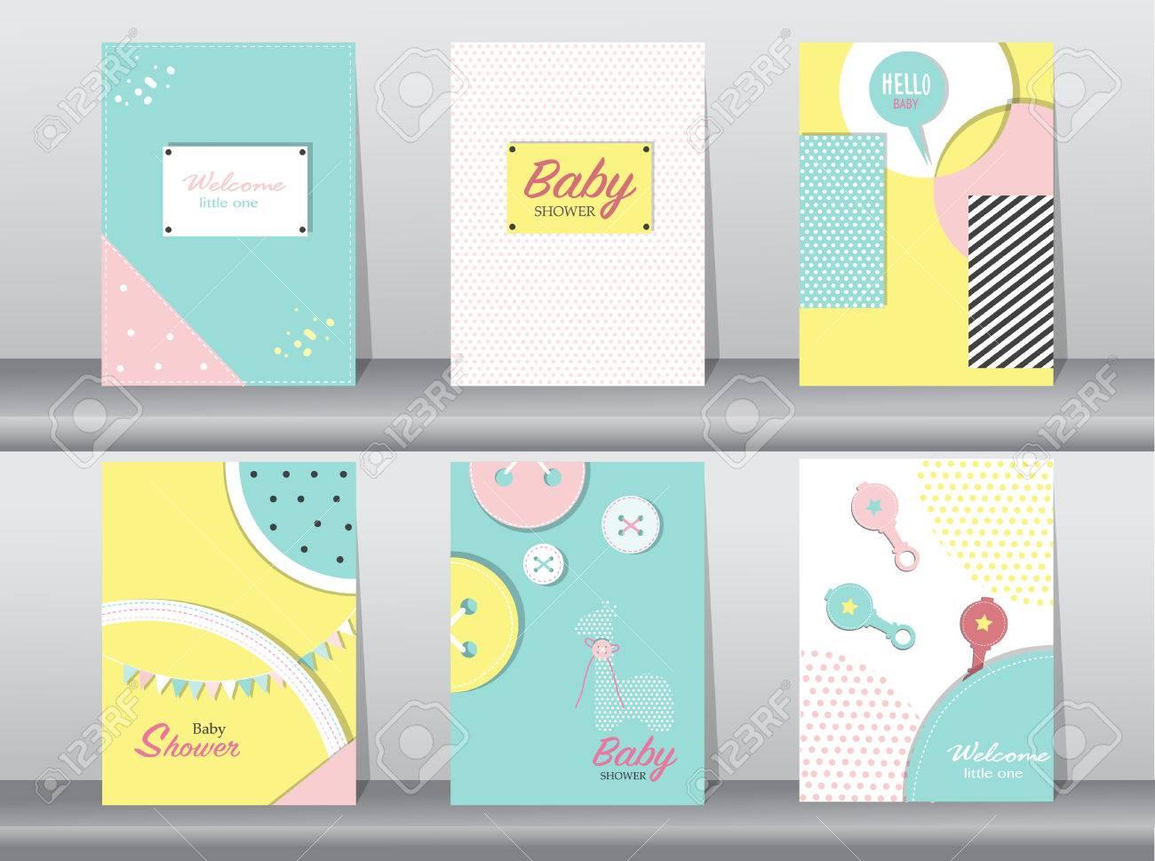 Set Von Baby-Dusche-Karte Auf Retro-Muster Design, Vintage, Poster ...